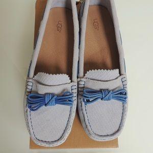 UGG Meena blue suede/Sheepskin slip on loafers